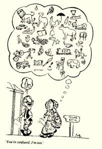 வாக்களிக்கச் சென்று கொண்டிருக்கும் கணவன் மனைவியிடம் சொல்கிறான்: நீதான் யாருக்கு வாக்களிப்பது என்று குழம்பிப் போயிருக்கிறாய்; எனக்குக் குழப்பமேயில்லை!  (பல வருடங்களுக்கு முன்னால் 'காக்' அவர்களால் வரையப்பட்டு நவ்பாரத்டைம்ஸ் தினசரியில் சுமார் 35 வருடங்கள் முன் வந்தது)