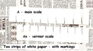 how to understand 'vernier' using paper strips - you can move them against each other,,, (the newspaper just serves as a background)